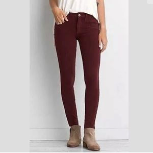 American Eagle Maroon Red Jeggings 14S